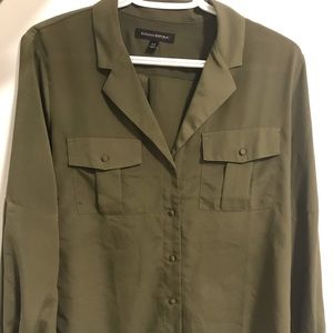 Olive Green Silky Top